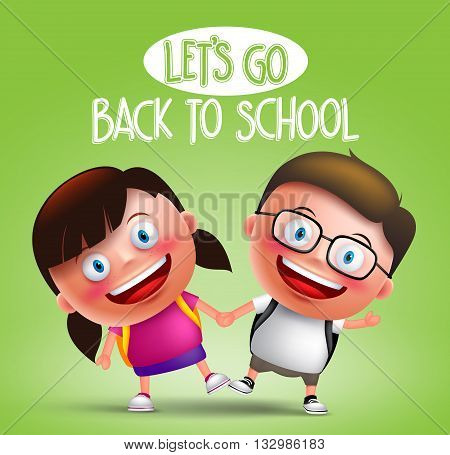 Kids student vector characters holding hands happy going to school wearing backpacks in green background with back to school text. Vector illustration