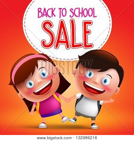 Back to school sale text with kids students vector character happy holding hands while walking with backpack going to school. Vector illustration.