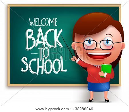 Back to school teacher funny 3D vector character wearing eyeglasses teaching in a chalkboard isolated in white background. Vector illustration