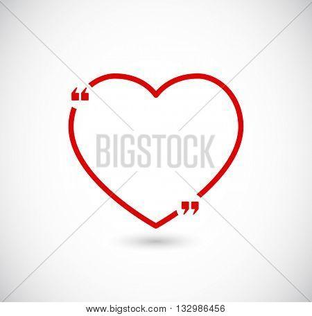 quote box frame - heart shape design