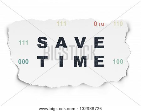 Time concept: Painted black text Save Time on Torn Paper background with  Binary Code