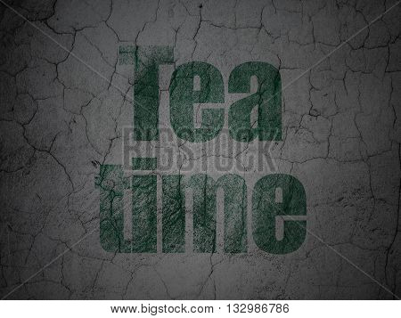 Time concept: Green Tea Time on grunge textured concrete wall background