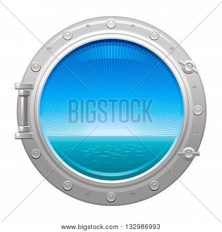Porthole icon with sea and sky summer landscape