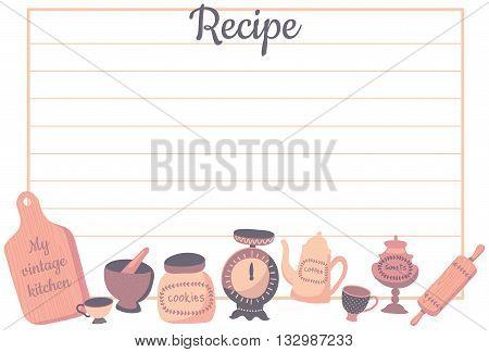 vector template of recipe card for kitchen vintage kitchenware set of kitchen utensils