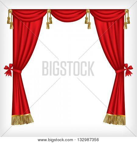 Classic red blinds with gold fringes and tassels isolated on white. 3D illustration. Contain the Clipping Path
