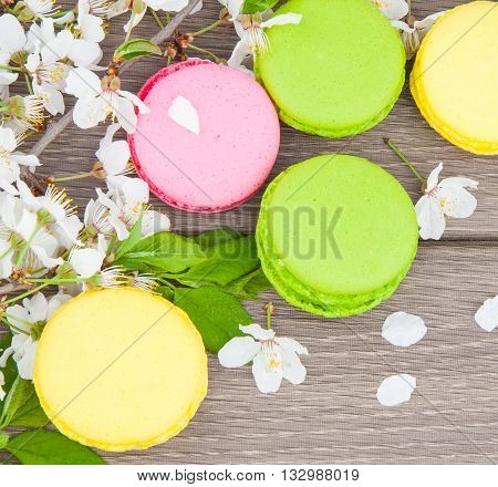 Macaroon On Wooden & Flowers