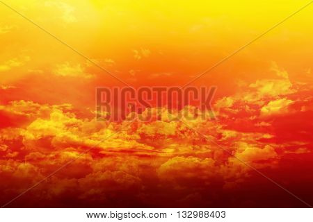 Colourful Puffy Clouds Golden Sky With Dreamy And Fantasy Mood, Densely Coulds On Dreamy Colourful S
