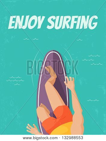 vector template of a poster upper view of a surfer standing on a surfboard