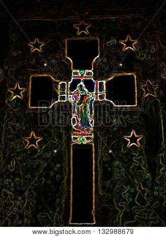abstract colourful gold religious crucifix cross background