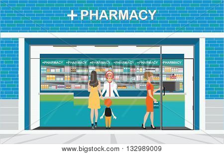 Female pharmacist at the counter in a pharmacy shop opposite of shelves with medicines building exterior front view and interior drug store Health care conceptual vector illustration.