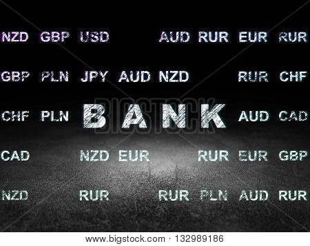 Money concept: Glowing text Bank in grunge dark room with Dirty Floor, black background with Currency