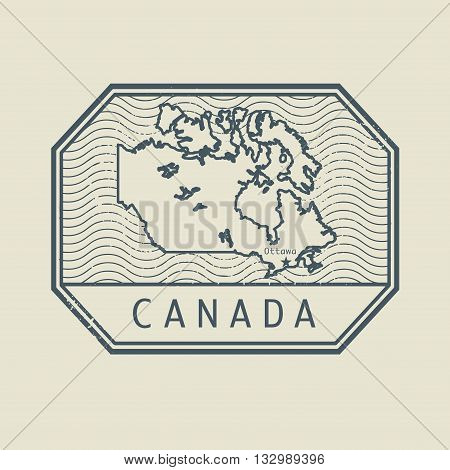 Stamp with the name and map of Canada, vector illustration