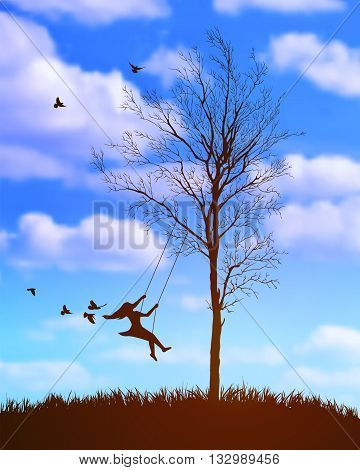girl on a swing. Tree on cloudy sky