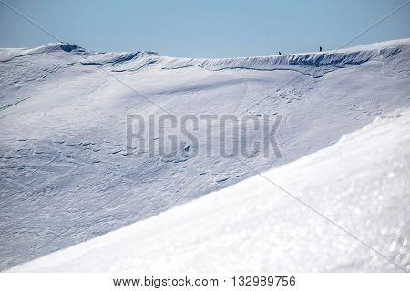 climbers on ridge, a lot of snow