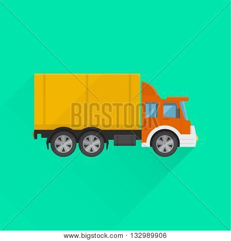 Truck sign on the isolated background. Fast cargo delivery service of shops enterprises and other establishments. A vector illustration in flat style.