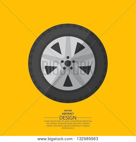 Automobile wheel in flat style. Vector illustration.