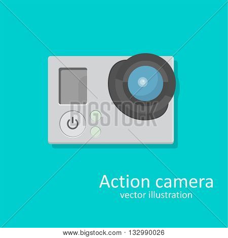 Icon an action a chamber for video and photographing. A vector illustration in flat style.