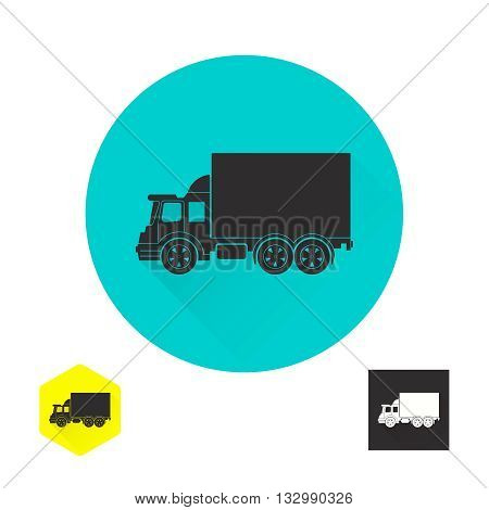 Truck sign. Fast cargo delivery service of shops enterprises and other establishments. A vector illustration in flat style.