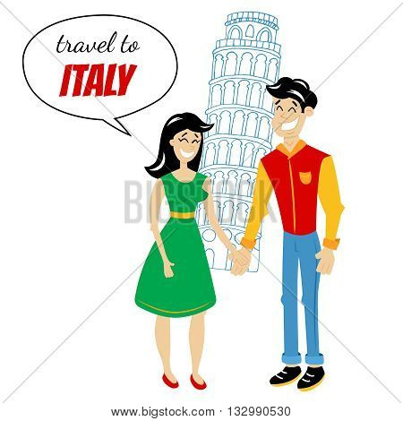 vector illustration of a couple standing in front of a pisa tower Italy travel destination illustration in retro comics style