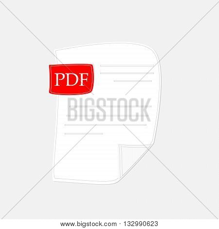 Vector illustration pdf icon. Pdf file format symbol flat design