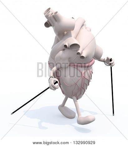 human heart with arms and legsthat's walking with sticks 3d illustration