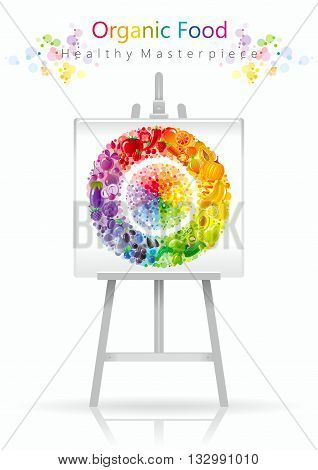 Vegetarian fruit and vegetables rainbow plate on canvas and easel