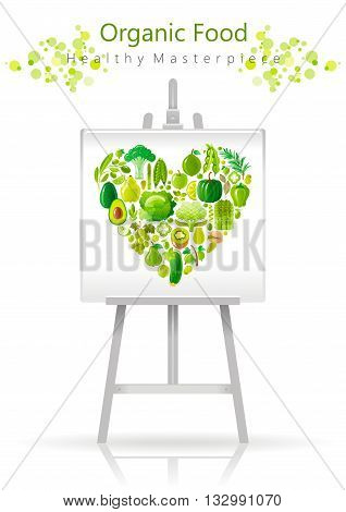 Vegetarian heart on canvas and easel green, lime and mint