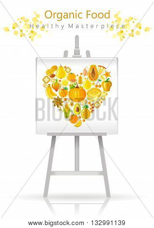 Vegetarian heart on canvas and easel yellow