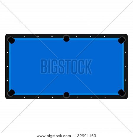 Vector illustration realistic pool table. Billiard table with blue cloth top view
