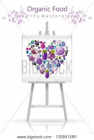 Vegetarian heart on canvas and easel violet and blue