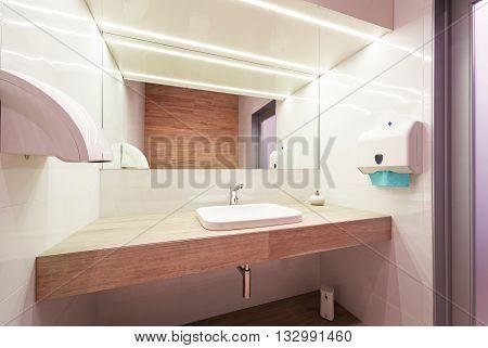 Interior Of Modern Public Restroom.