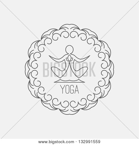 Yoga icon. Logo template on a blue background. Vector logo for the spa center yoga center yoga studio. Template graphic design element. Vector illustration for your design