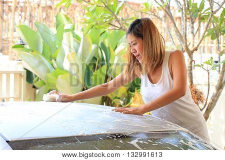 Car Wash, Woman Washing Car At Home