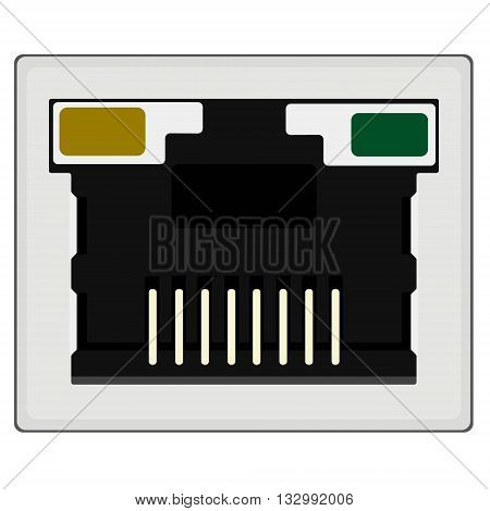 Vector illustration realistic network ethernet port. Network router or switch icon.