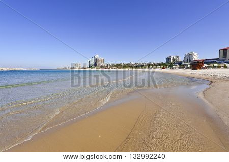 Beach of Mediterranean Sea in Israel in the Spring