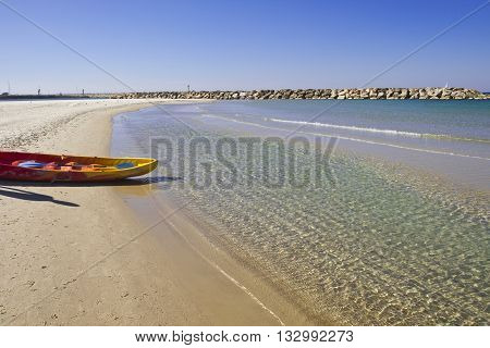 Rubber Inflatable Boat on the Beach of Mediterranean Sea in Israel