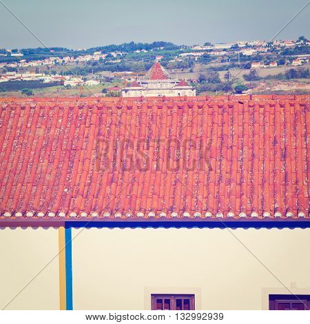 Tile Roof in the Historic Center City of Obidos in Portugal Retro  Effect