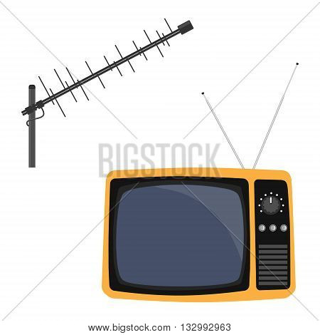 Vector illustration television antenna and retro tv. Antenna icon. Television antenna. TV antenna. TV icon set.