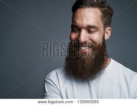 Happy Young Man With Large Fuzzy Beard