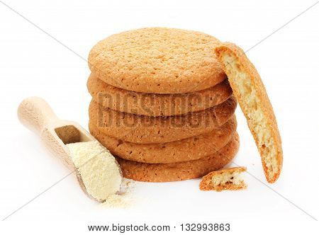 Sweet corn cookies isolated on white background