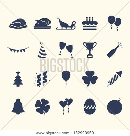 Party-Celebration Web Icon Set Design. Easy to manipulate, re-size or colorize.