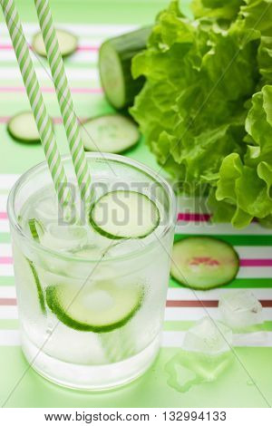 Green cucumber detox infused water with ice