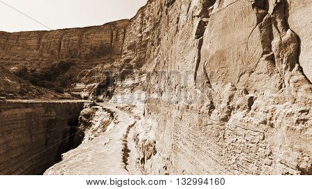 Canyon En Avedat of the Negev Desert in Israel Vintage Style Sepia