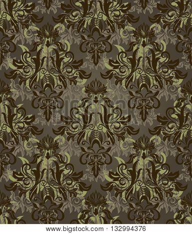Seamless dark brown and green retro pattern.