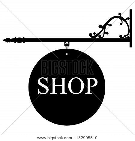 Vector illustration vintage old shop sign. Signage shop sign route hanging information banner retailer.