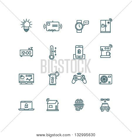 Smart house icons. Home automation control systems symbols for Internet of things concept. Icon thing for smart house system and technology device smart house. Vector illustration