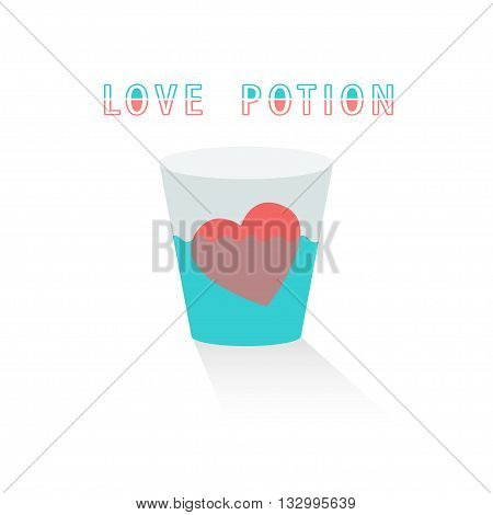 Cartoon love potion icon heart shaped with letter label, pink vector illustration