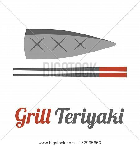 Vector mackerel and chopstick with name, flat design