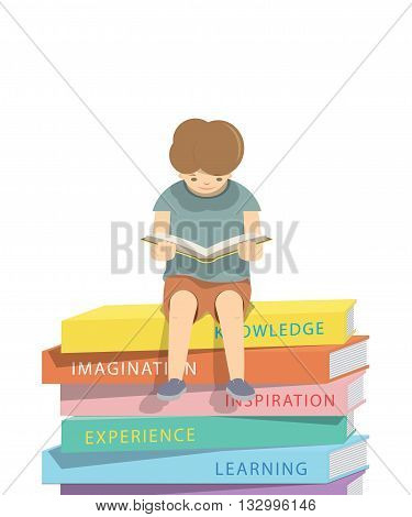 illustration vector boy reading a book on a pile of books White background.