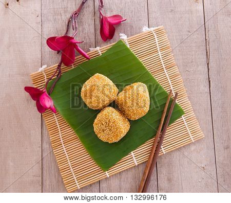 Malaysia desert Onde-Onde or known as Chinese Sesame Ball on banana leaf.